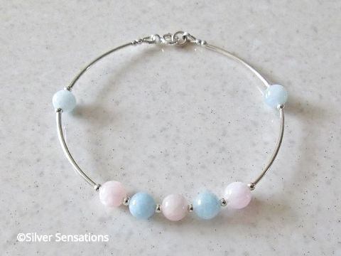 Natural Pink & Blue Morganite Sterling Silver Bangle Bracelet